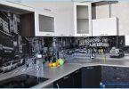 Glas Schürze für die Küche mit Fotos