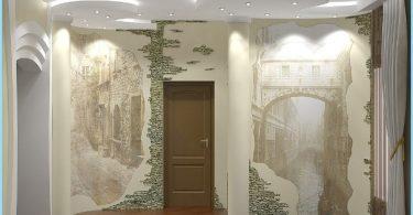 Design und Dekoration der Eingangshalle mit dekorativen Stein