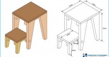 Ein Stuhl-Trittleiter: Fotos, Videos, Zeichnungen