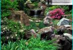 Wasserfall mit ihren Händen auf dem Land und in den Garten - Lösungsweg
